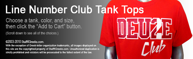 Greek Line Number Club Tank Tops by stuff4GREEKS | Ace Club
